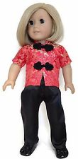 """Red & Black 2 piece Asian Pant Set made for 18"""" American Girl Doll Clothes"""