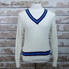 Polo Sport V Neck Tennis Sweater sz Small S Ivory Blue Ralph Lauren Cable Knit