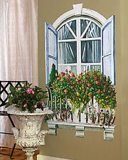 Paris Window Shutters Iron Rail Balcony Flower Trellis Wall Mural Decals Sticker