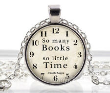 Vintage books time Cabochon Silver plated Glass Chain Pendant Necklace n8