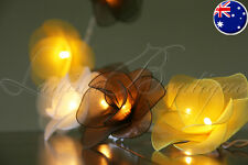 20 BUMBLEBEE Nylon Rose Flower LED String Fairy Lights White Brown Yellow Lamps