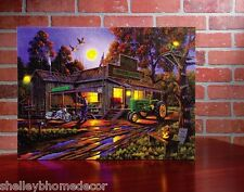 Harley Motorcycle & John Deere Tractor Country Store Lighted Picture 73133 NEW