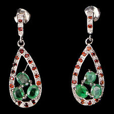 REAL GEM GREEN EMERALD,ORANGE GARNET STERLING 925 SILVER 3-STONES DROP EARRINGS