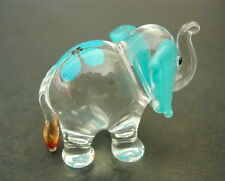 Glass ELEPHANT Turquoise Ears and Flower Blown Glass Animal Ornament Figure Gift