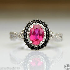 Created Ruby & Black Diamond Halo Wedding Engagement Ring 10k White Gold Sz 7