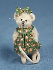 "DEB CANHAM ""OLIVIA MINI MICE""  MOHAIR MOUSE WITH GREEN FLORAL DRESS- 2 3/4"" TALL"