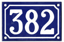 Blue French house number 382 door gate plate plaque enamel steel metal sign