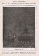 1919-VINTAGE PRINT- BRITISH DRIFTERS PATROLLING SURRENDERED SHIPS AT SCAPA FLOW