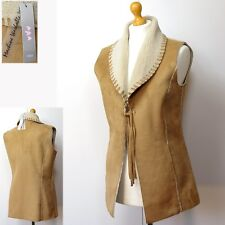 PER UNA Faux SHEEPSKIN Long FLEECE Lined GILET ~ Size S ~ TAN (rrp £39.50)