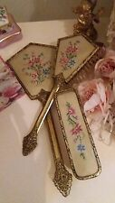 Vintage Goldtone Floral Vanity Dressing Table set