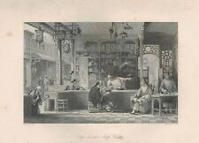 1843 ANTIQUE PRINT-ALLOM CHINA-CAP VENDORS SHOP CANTON