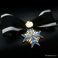 NEW With Leaf Pour Le Merite Gold Plated Cross Medal Blue Max Highest Award Copy