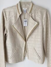 New Chico's Women's Ecru Tweed Jacket Size 1 (8/10 M) Cream Ivory Gold With Tags