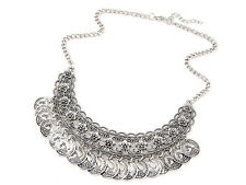 Ethnic Nepal Tibet Silver Coins Tassels Statement Collar Choker Necklace