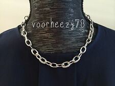 Christina link chunky silver chain mini pave statement necklace US SELLER