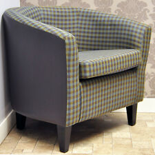 Luxury Plum Brown Check Gingham Tartan Fabric & Faux Leather Tub Arm Chair