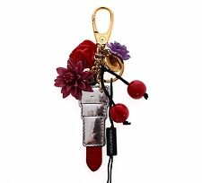 NWT $320 DOLCE & GABBANA Multicolor Lipstick Floral Gold Sicily Keychain Finders