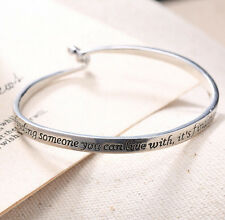 Infinity Charming Inspirational Engraved Bangle Bracelet Lover Couple Jewelry