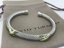 David Yurman Sterling Silver & 14k Gold 5mm Double X Cuff Bracelet 6 3/4""