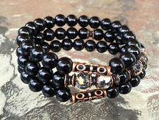 8 mm Back Onyx Wrist Mala Beads Bracelet Blessed & Energized Karma Nirvana Medit
