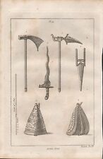 1801 ANTIQUE MILITARY PRINT - ARMOUR PLATE 56 ASIATIC ARMS ROHILLA BATTLE AXE