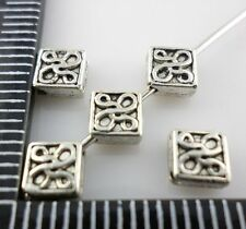 60pcs Tibetan silver Flat square flower Spacer Beads 5x2.5mm  (Lead-free)