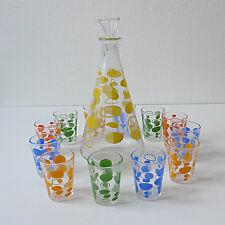 service à liqueur vintage 10 verres carafe années 70 design 1970 seventies