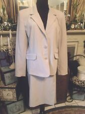 MERONA WOMEN'S TAN SKIRT SUIT SZ JACKET XL SKIRT 16  FULLY LINED