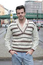 Herren Pullover braun brown grün green weiß 70er True VINTAGE 70´s men Streifen