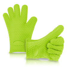 Silicone Heat Resistant Oven Mitts Gloves Potholder For Kitchen/Barbeque - Green