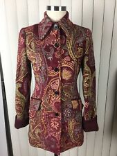 Etro Women's Paisley Floral Embroidered Viscose Blend Coat 40 Rare Awesome!!