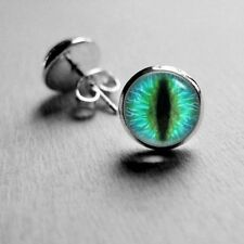 14mm Aqua Green Cat Eye Stud Earrings Surgical Stainless Steel Post