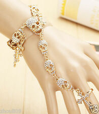 Fashion Design huge skull Statement crystal chunky chain charm Glod Bracelet 961
