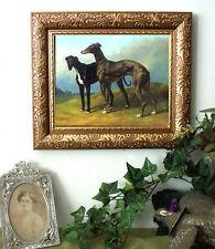 SALE Montpezat Greyhound DOG Print Antique Vintage Style Framed Horse