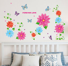 Wall Stickers Flowers Colorful Backdrop with Vines Home Decal