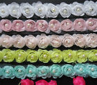 1yd Flower Pearl Lace Edge Trim Wedding Chiffon Ribbon Applique DIY Sewing Craft
