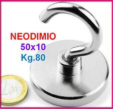 NEODIMIO MAGNETE A GANCIO 50x10 mm 80 KG. CALAMITA CALAMITE MAGNETI