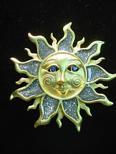 """""""JJ"""" Jonette Jewelry Gold Pewter 'SUN with Blue Eyes & Silver Rays' Pin"""