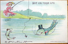 1905 Outcault/Artist-Signed Postcard: Woman Fishing, Dressed Fish Smoking In Hat
