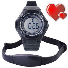 Fitness Sport Digital Watch Pulse Heart Rate Monitor Alarm/Time+Chest Strap Belt