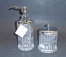 NEW HOTEL BALFOUR 2 PC CLEAR 3D GLASS CRYSTAL VERTICAL CUT SOAP DISPENSER+JAR