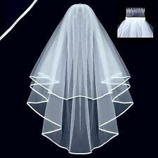 New Beautiful White 2T Wedding Bridal elbow Satin Edge Veil With Comb Local Mail