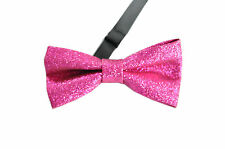 Men Hot Pink Rose Red Faux Shining Leather Bow Tie Bowtie Wedding Party Dance
