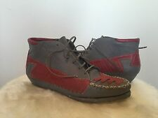 WOW VTG Southwestern Aztec Native Bootie Moccasin Shoes Leather Hipster Urban 8