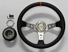 Toyota 35cm JDM Red Stitch Deep Dish Steering Wheel w/ Boss Kit Hub Adapter