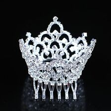 Mini Tiara Crown Clear Rhinestone Hair Combs for Kids Pageant Prom Party Costume