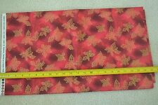 "By-the-Half-Yard, 45"", Gold Leaves on Red Quilter's Cotton, Hobby Lobby M6434"