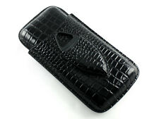 Black Crocodile Leather Travel Cigar Case Holder with Cigar Cutter