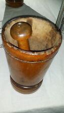BIG! 19th c Antique Primitive  9 1/2 Carved Wood Mortar & Tiger Maple Pestle
