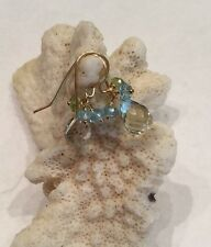 14k solid yellow gold Blue Topaz & Green Amethyst Briolette earrings